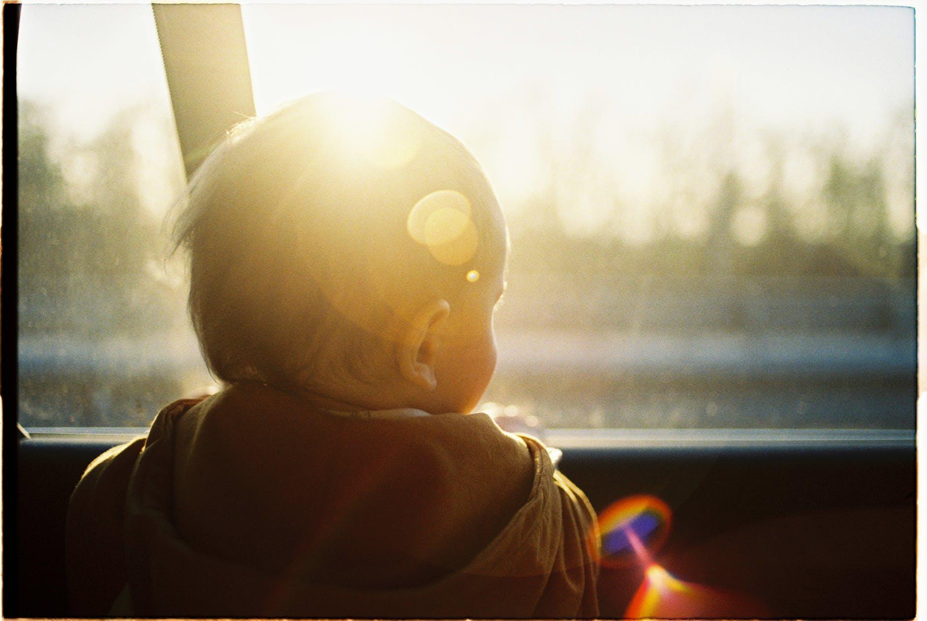 baby looking through car window